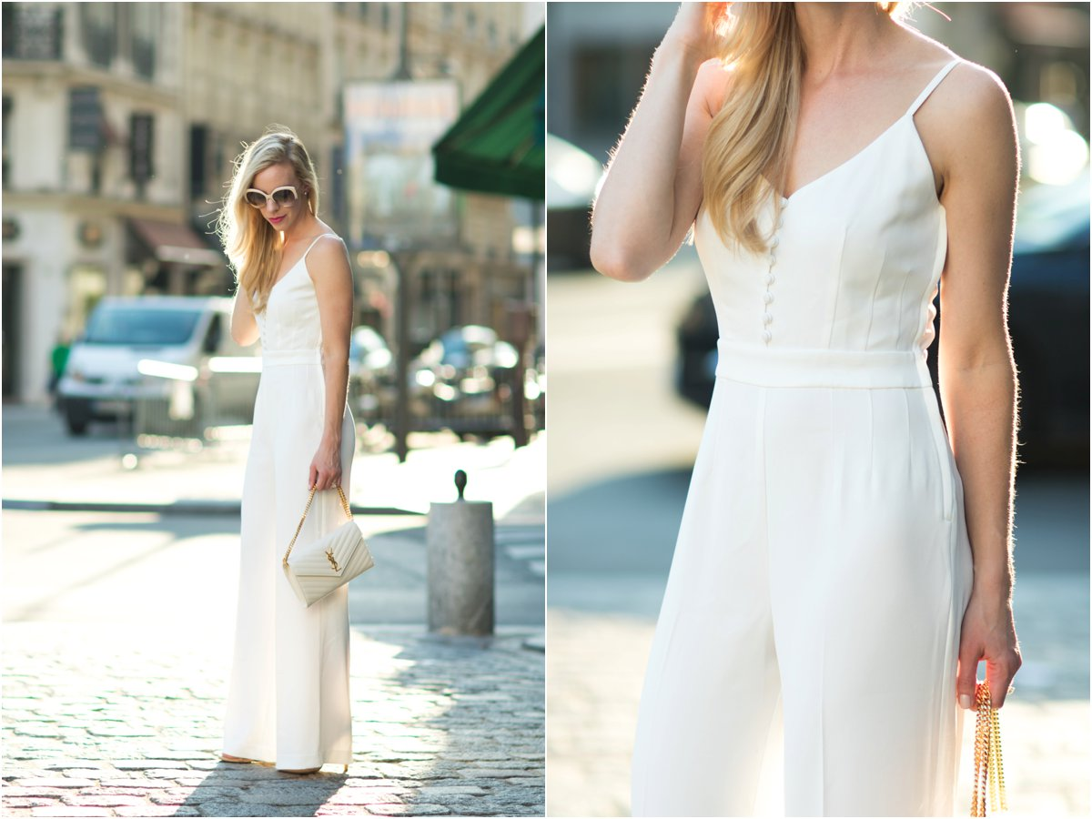 H&M white wide leg jumpsuit, YSL white monogram clutch, how to wear a wide leg jumpsuit