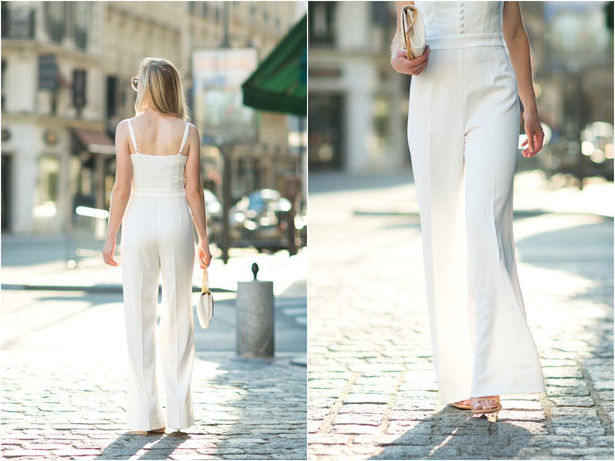 H&M white wide leg jumpsuit with stiletto sandals, how to wear a wide leg jumpsuit, white jumpsuit outfit