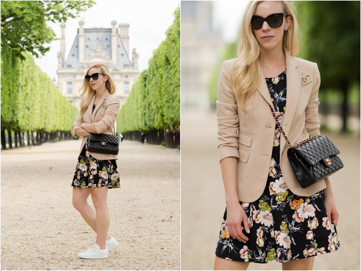 J. Crew pink blazer, floral print dress, floral dress with Stan Smith sneakers, Chanel medium classic flap bag black with gold hardware, floral dress in Paris