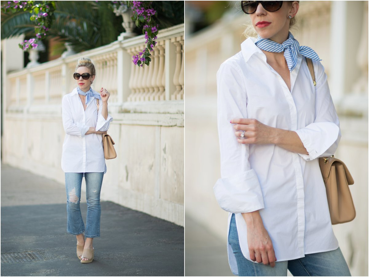 6dc0193b80 J. Crew white button down tunic shirt, blue and white striped neck tie  scarf, Blank NYC micro crop flare jeans, how to wear crop flare jeans, ...