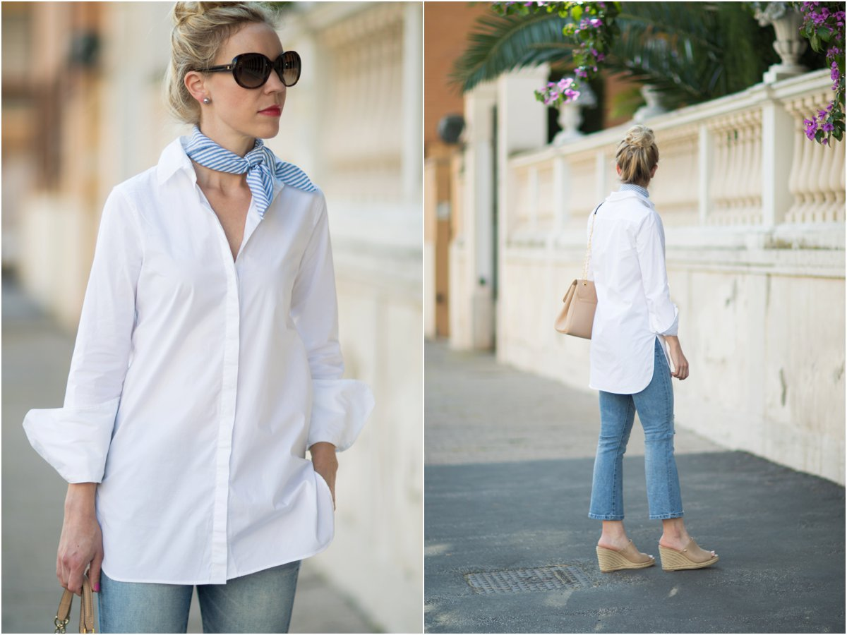 5c41206e13 J. Crew white endless tunic buttondown shirt, button down shirt with  striped neck scarf, crop flare jeans with mule wedges, how to wear a neck  tie scarf