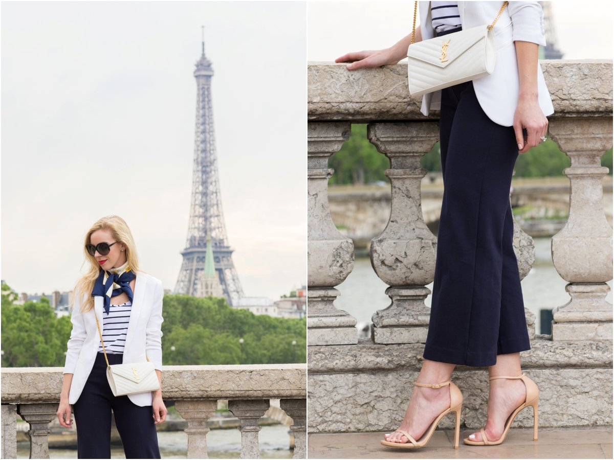 J. Crew wide leg culottes, Stuart Weitzman Nudist stiletto sandal adobe leather, Saint Laurent white monogram chain wallet clutch, white blazer with striped top and silk scarf in Paris