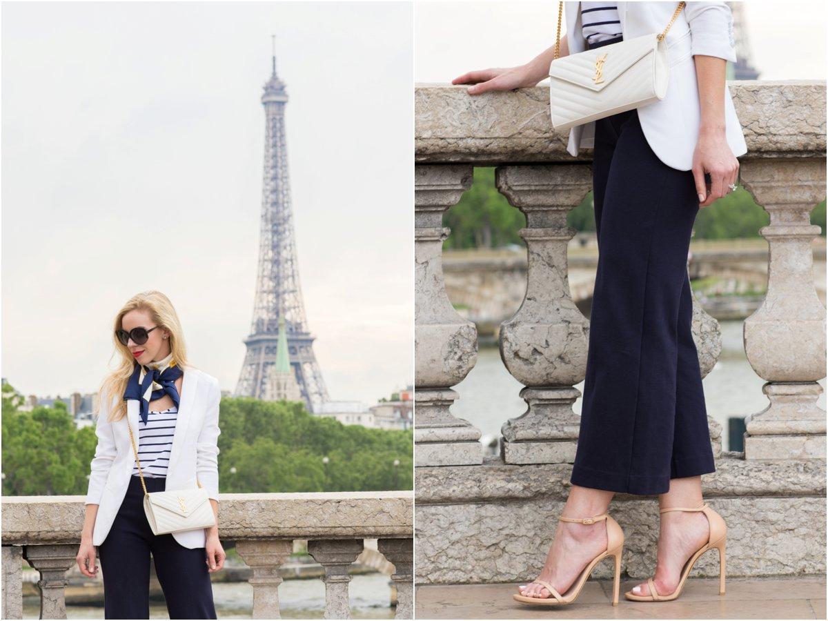 J. Crew wide leg culottes, Stuart Weitzman Nudist stiletto sandal adobe leather, Saint Laurent white monogram chain wallet clutch, white blazer with striped top and silk scarf in Paris