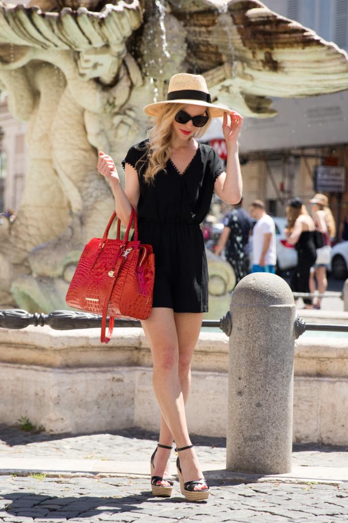 LOFT fringe trim romper, Brahmin 'Finley' carryall tote Cayenne Melbourne, Brixton 'Joanna' panama hat, Rome Italy fashion blogger