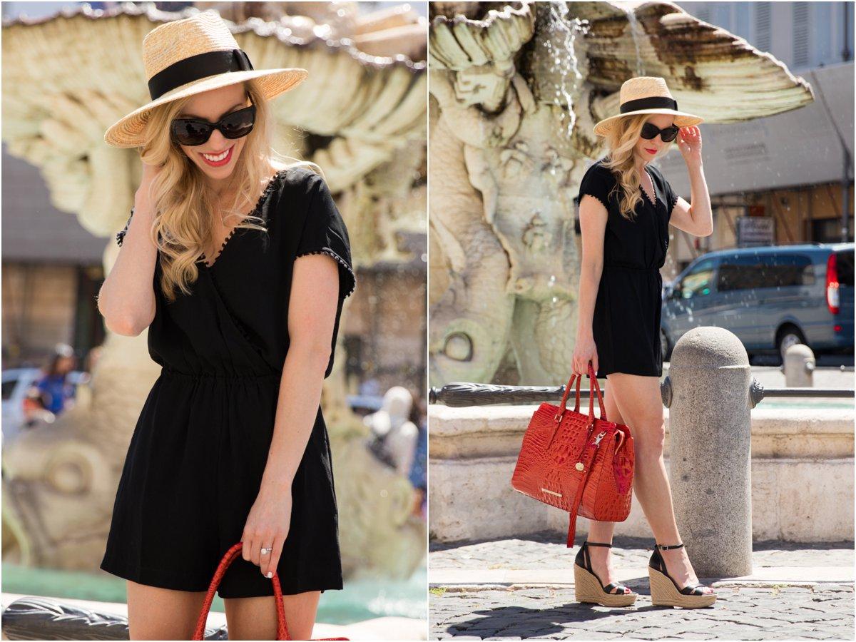 LOFT fringe trim romper, Brixton 'Joanna' panama hat, Brahmin 'Finley' carryall tote, Italian fashion Rome Italy