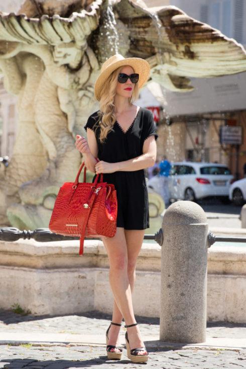 LOFT fringe trim romper, Brixton 'Joanna' panama hat, Brahmin 'Finley' tote Cayenne Melbourne, black romper outfit, Rome Italy fashion blogger