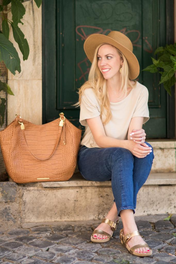 Madewell straw panama hat, Michael Kors 'Sawyer' gold sandals, Brahmin 'Thelma' tote tan savannah, Italian fashion in Rome Italy