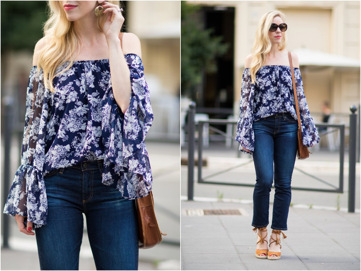 Vintage Havana off the shoulder top with cropped flare jeans, AG Jeans 'Jodi Crop' crop flare jeans with wedge sandals, how to wear crop flare jeans