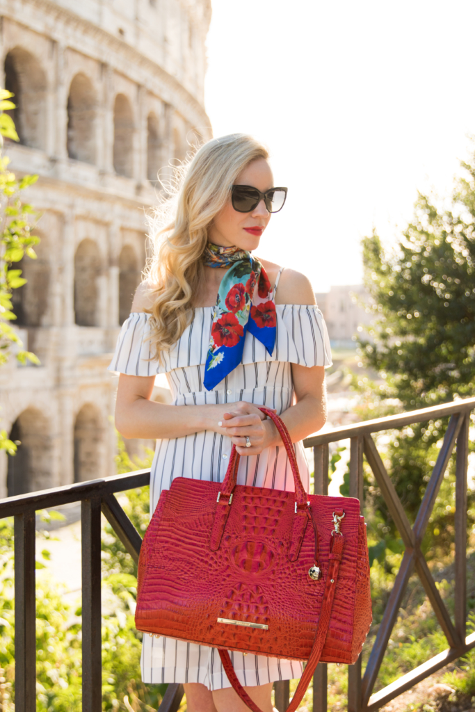 black and white striped cold shoulder dress, Dolce & Gabbana silk scarf, Brahmin 'Finley' carryall tote Cayenne Melbourne, how to wear silk neck scarf