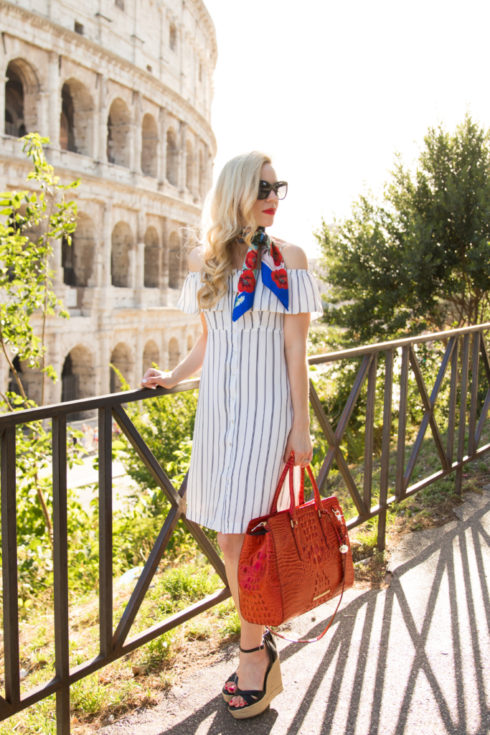 black and white striped cold shoulder dress with wedge sandals, Brahmin 'FInley' tote Cayenne Melbourne, Dolce & Gabbana postcards of Italy silk scarf