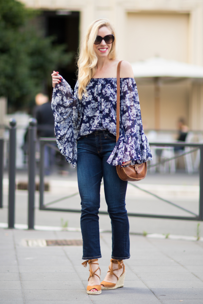 blue and white floral off the shoulder top, AG Jeans Jodi crop flared jeans, Joie 'Phyllis' espadrille sandals, off the shoulder top with crop flare jeans outfit