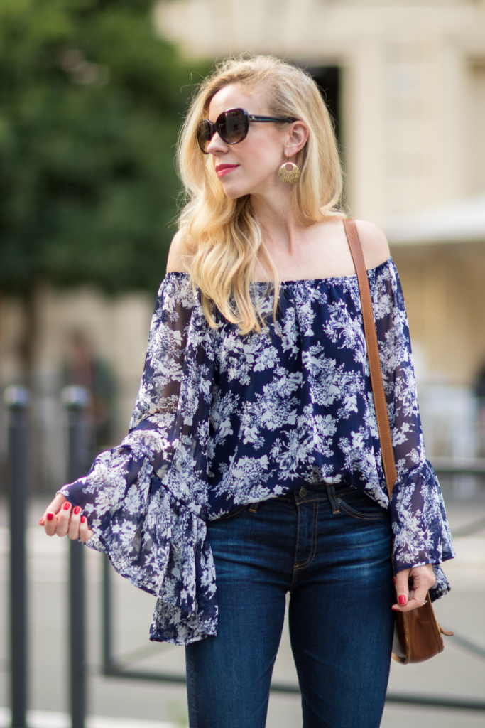 blue and white floral off the shoulder top with bell sleeves, how to wear off the shoulder top, how to wear a bell sleeve top