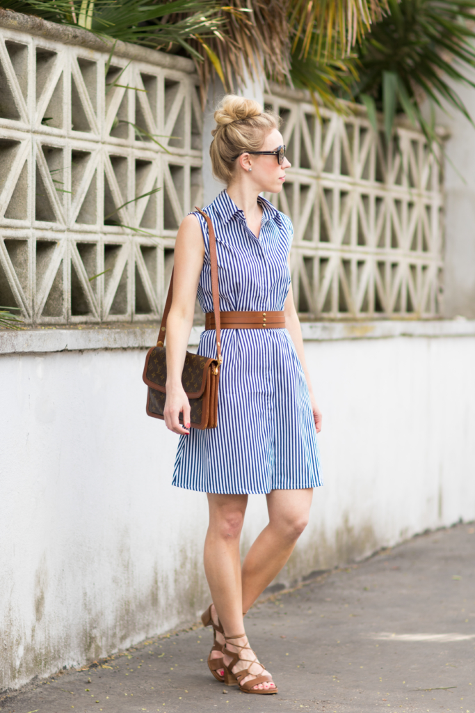Summertime dressing striped dress leather belt lace for Blue dress shirt outfit