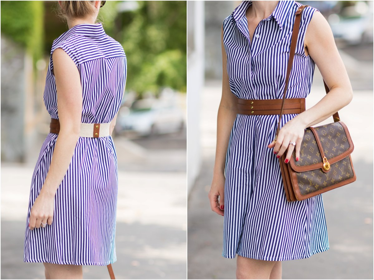 eef768e3ae53 blue and white striped shirt dress with leather belt