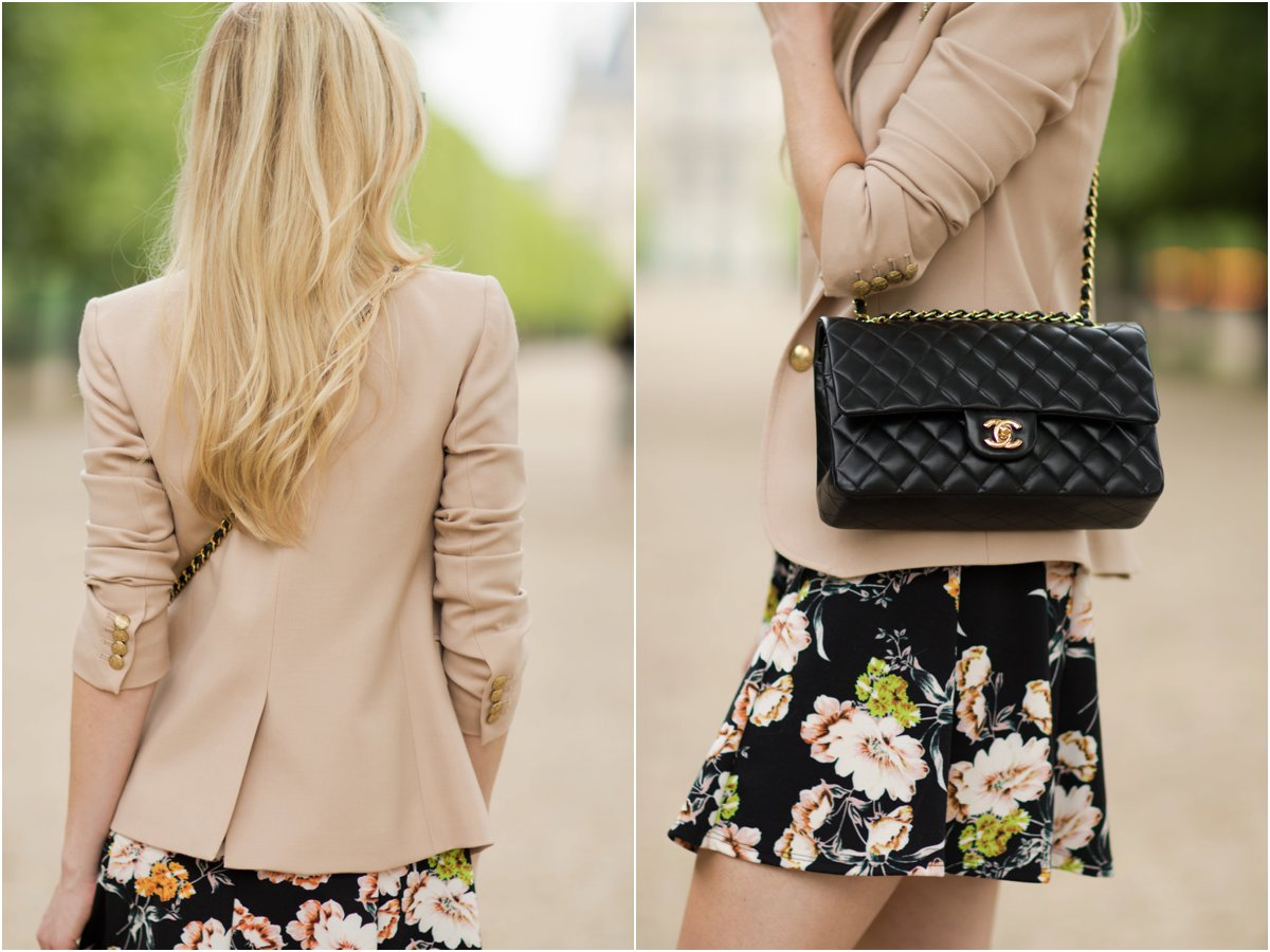 blush pink blazer over floral print dress, Chanel medium classic flap bag, Parisian inspired outfit with Chanel bag