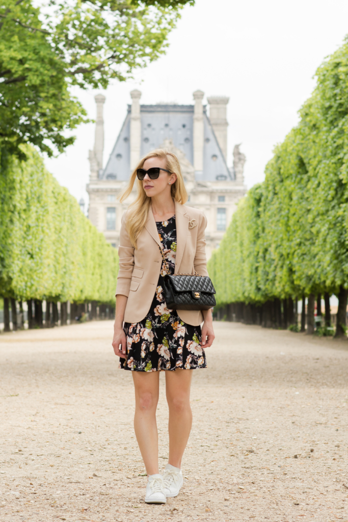 blush pink blazer over floral print dress, floral print dress with Stan Smith sneakers, what to wear in Paris, Parisian inspired outfit wtih Chanel bag