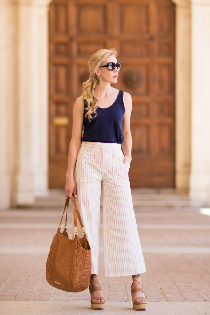 { Striped Silhouette: Wide leg pants, Lace-up wedges ...