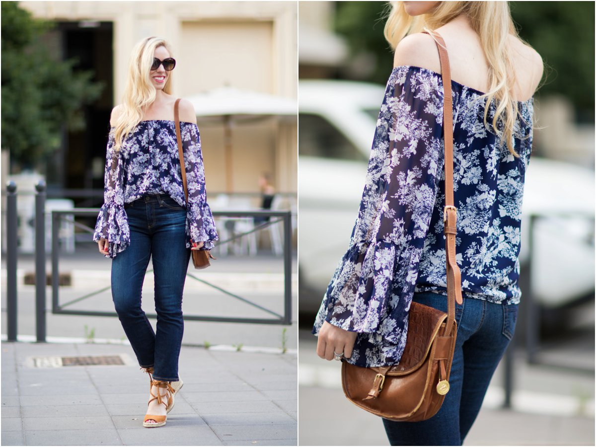 off the shoulder bell sleeve top with crop flare jeans, how to wear kick crop flare jeans, Brahmin vintage saddlebag, how to wear bell sleeve top