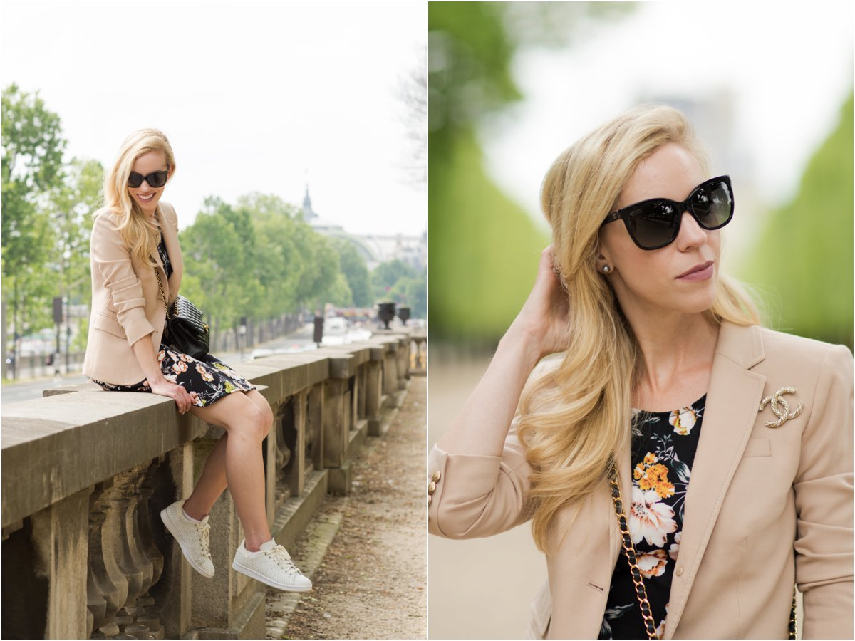 pink blazer with Chanel brooch pin, pink blazer worn over floral print dress, floral dress with Stan Smith sneakers, what to wear in Paris