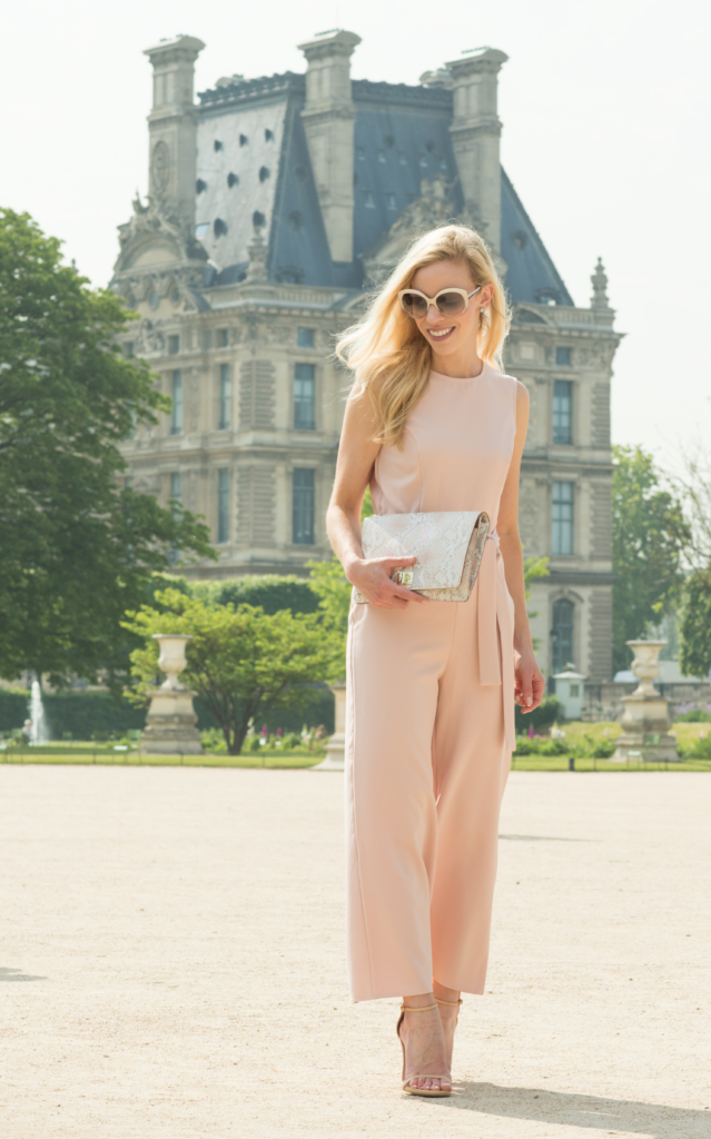 pink culotte jumpsuit, Brahmin 'Lily' pink madera snakeskin clutch, how to wear pink culottes, culottes jumpsuit