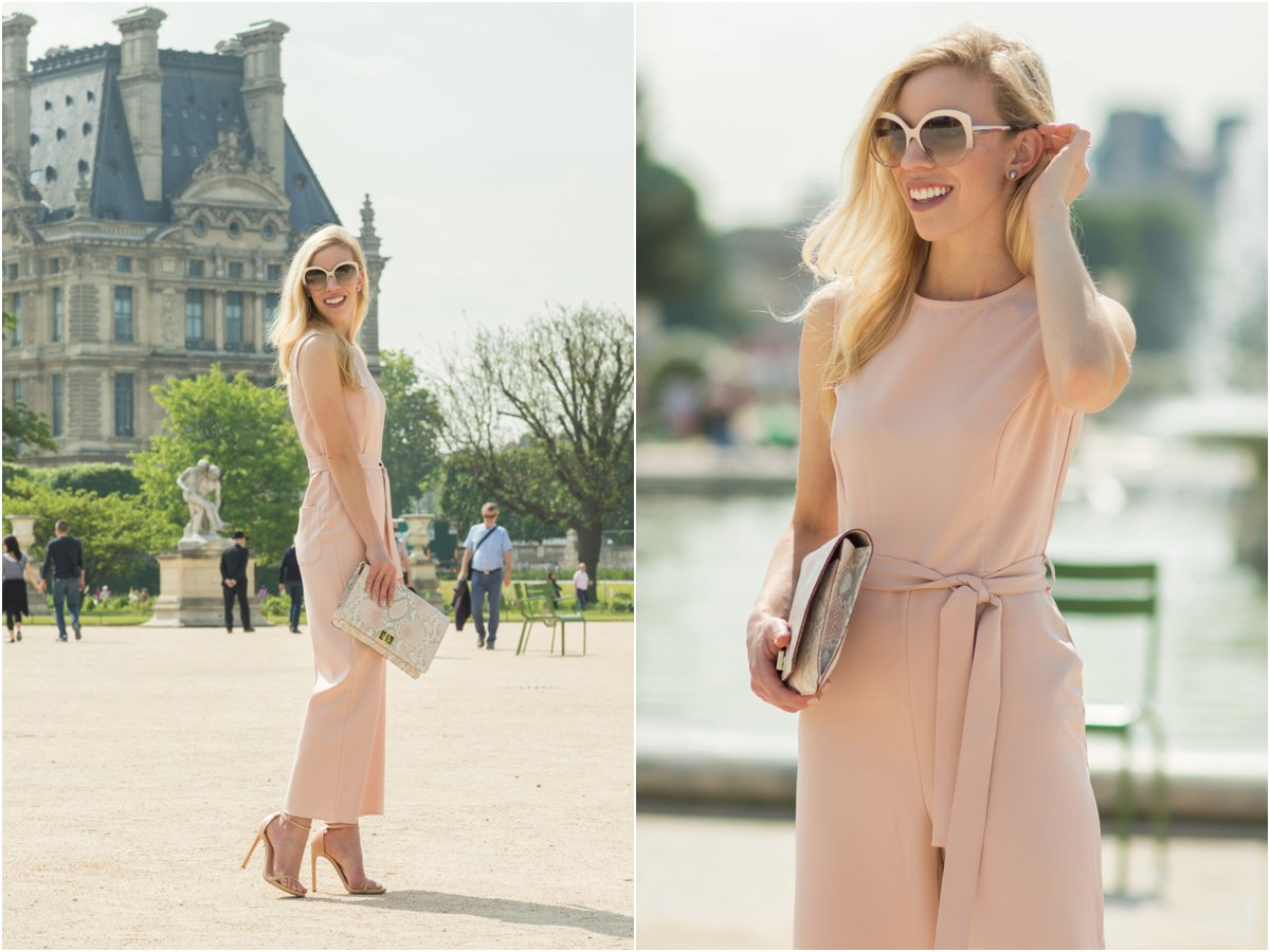 pink culotte jumpsuit, Brahmin 'Lily' snakeskin clutch, how to wear pink jumpsuit, what to wear in Paris France