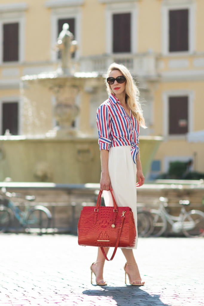red, white and blue striped top with white culottes, Brahmin 'Finley' tote Cayenne Melbourne, 4th of July outfit with red, white and blue stripes, stylish 4th of July outfit