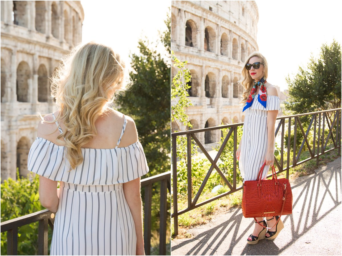 striped cold shoulder dress with silk scarf, BCBG 'Holly' wedge sandals, Brahmin 'Finley' tote Cayenne Melbourne, fashion in Rome Italy
