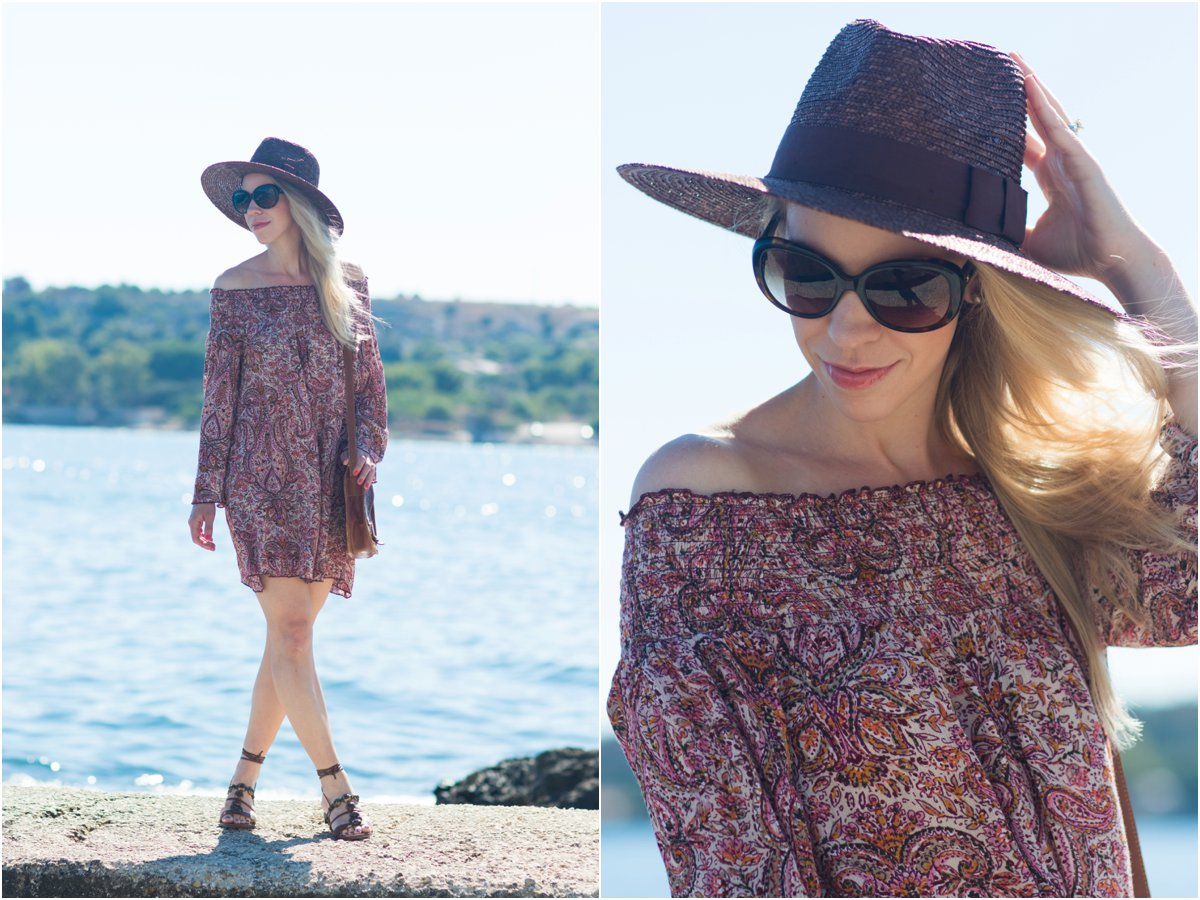 Band of Gypsies off the shoulder paisley dress, Stuart Weitzman 'Stoned' lace-up sandals, Brixton 'Joanna' brown panama hat