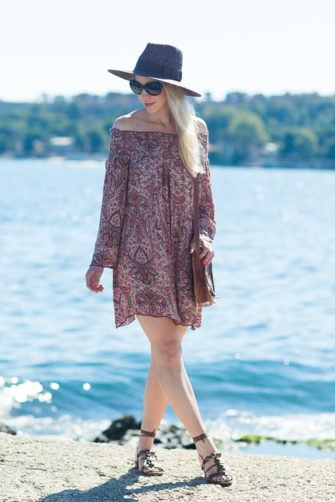 Band of Gypsies off the shoulder paisley dress, Stuart Weitzman brown lace-up sandals, what to wear in Sicily Italy
