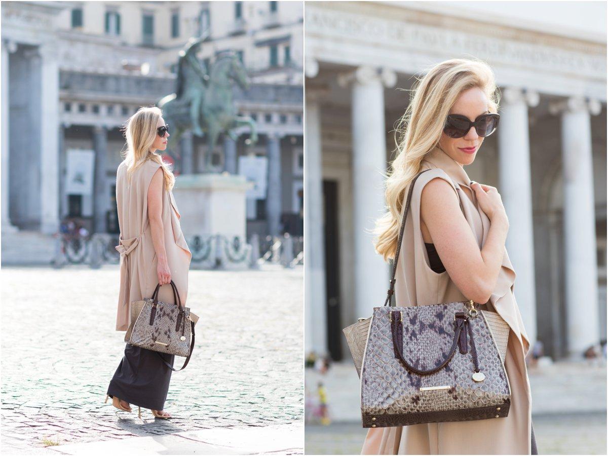 Brahmin 'Priscilla' satchel Stone Carlisle snake print, beige long vest over maxi dress, fashion shoot Piazza del Plebiscito Naples Italy