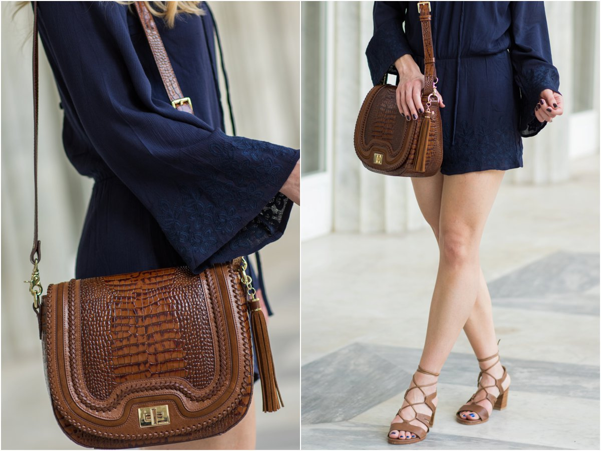 Brahmin 'Sonny' saddle bag Toffee Rockdale, Stuart Weitzman 'Tiegirlbingo' lace-up block heel sandals