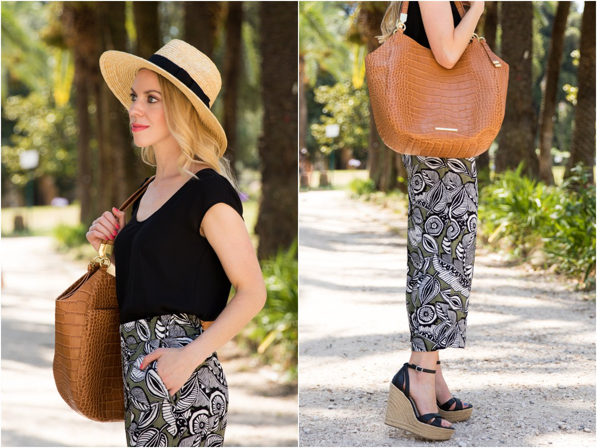 Brahmin 'Thelma' tote tan savannah, tropical print culottes with wedge sandals outfit, Brixton 'Joanna' hat, how to wear floral print pants