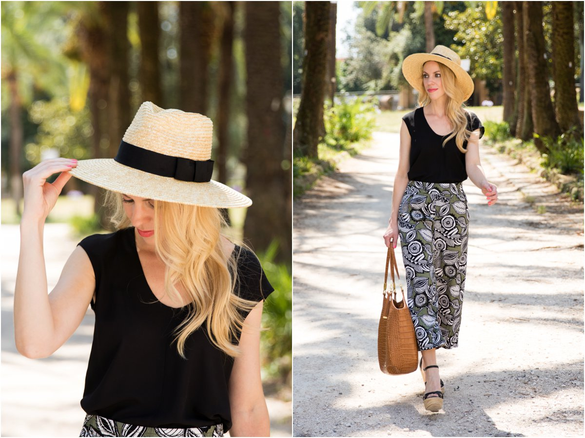 Brixton 'Joanna' hat honey, LOFT wide leg cropped floral print pants, Brahmin 'Thelma' tote, floral print culottes summer outfit