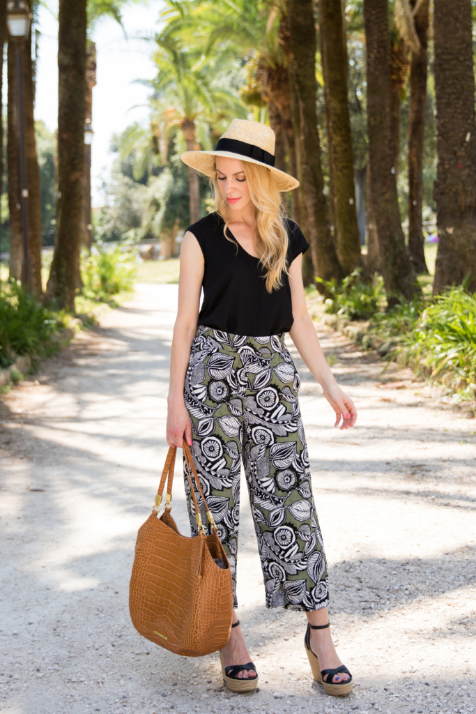 Brixton 'Joanna' panama hat honey, floral print culottes, tropical inspired look with culotte pants, Brahmin 'Thelma' tote Tan Savannah