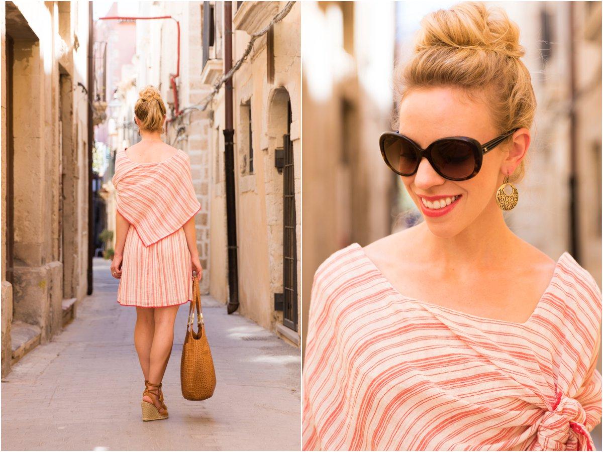 Chanel tortoiseshell oversized sunglasses, Clinique 'Fireball Pop' red lipstick, Intropia tie front striped linen dress summer 2016