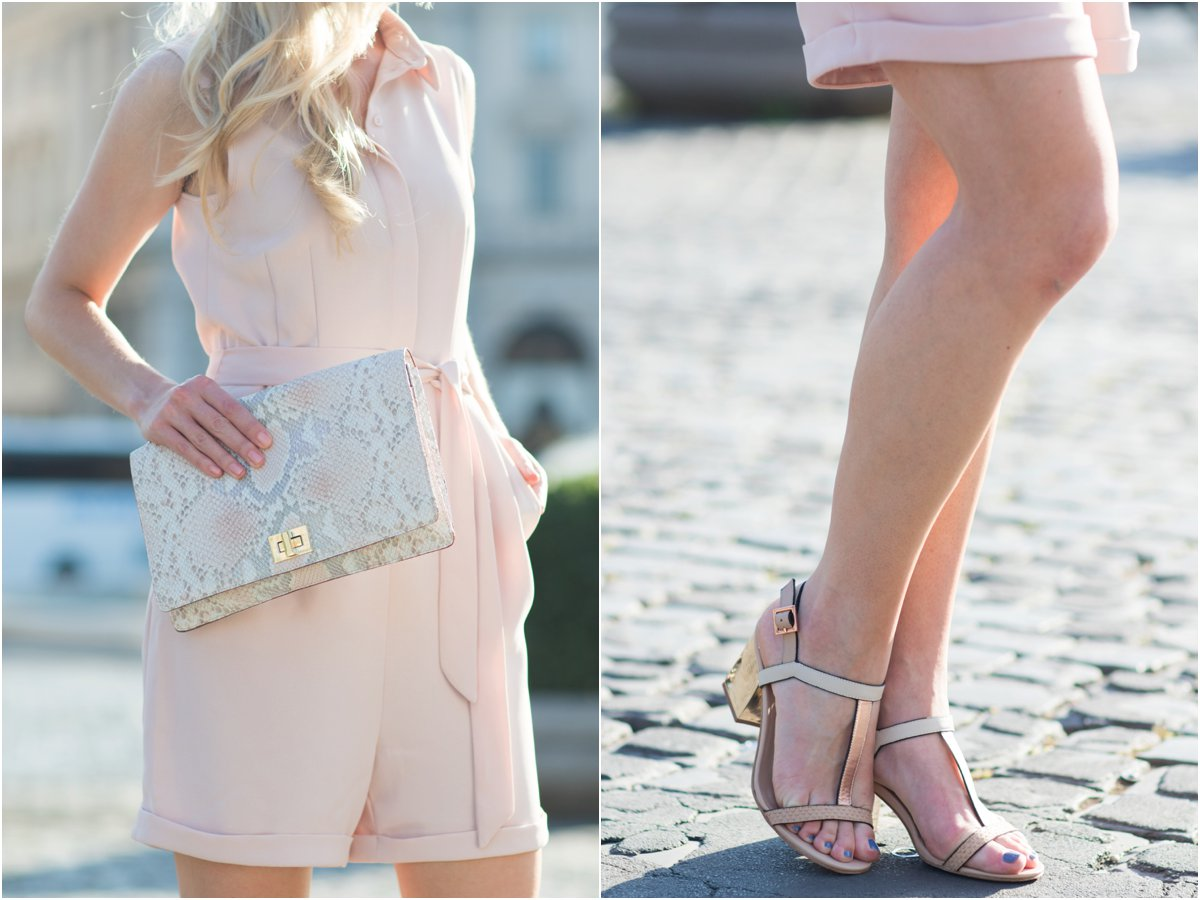 H&M blush pink romper, Brahmin 'Lily' pink madera snakeskin clutch, rose gold block heel sandals, how to wear a pink romper