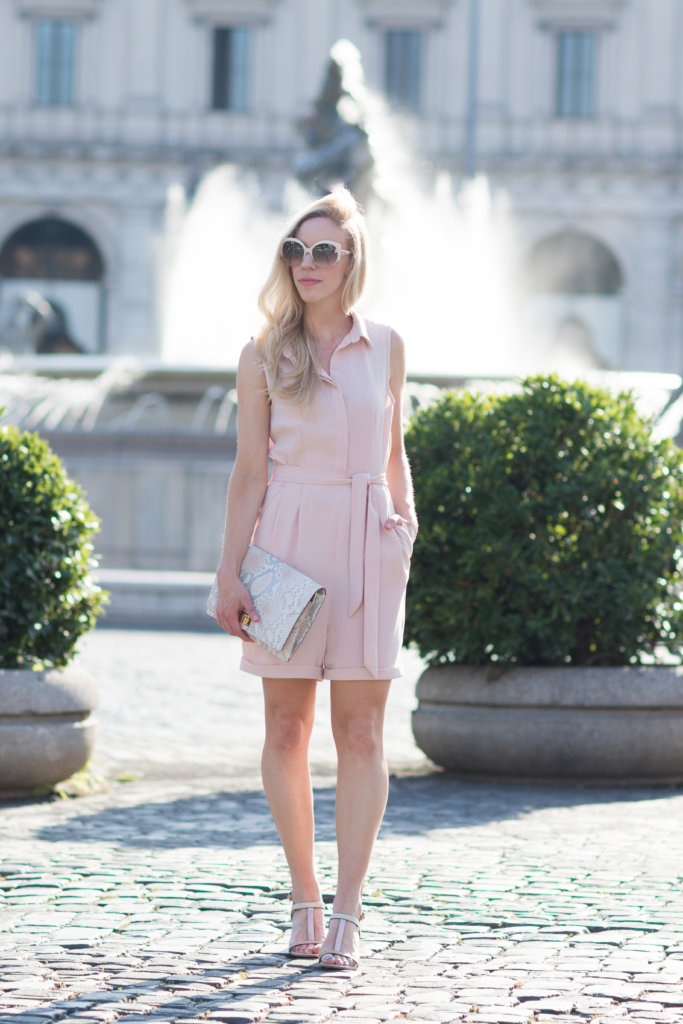 H&M blush pink romper, Brahmin snakeskin print Lily clutch Pink Madera, rose gold sandals, pink romper outfit, blush pink jumpsuit outfit