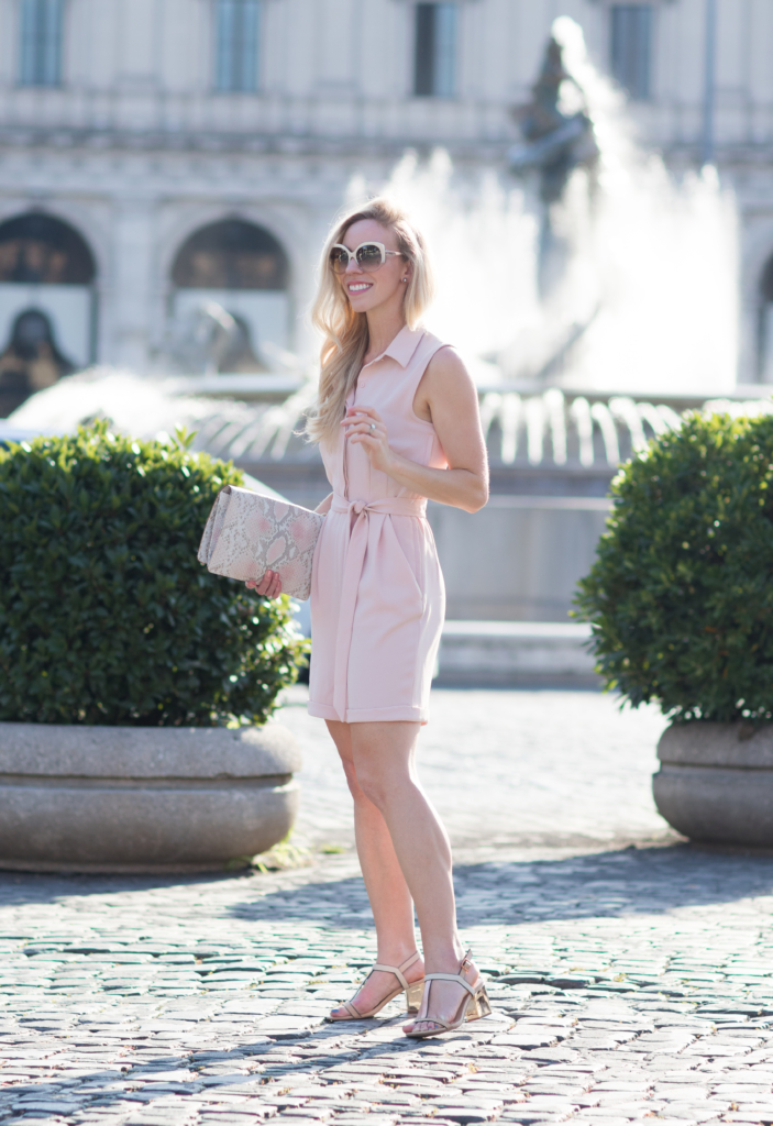H&M blush pink romper, rose gold block heel sandals, Brahmin snakeskin print clutch, pink romper outfit, fashion blogger Rome Italy
