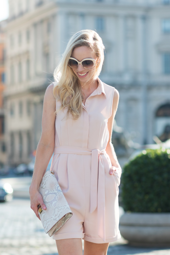 H&M blush pink tie waist romper, Brahmin Lily clutch Pink Madera snakeskin print, how to wear a blush pink romper