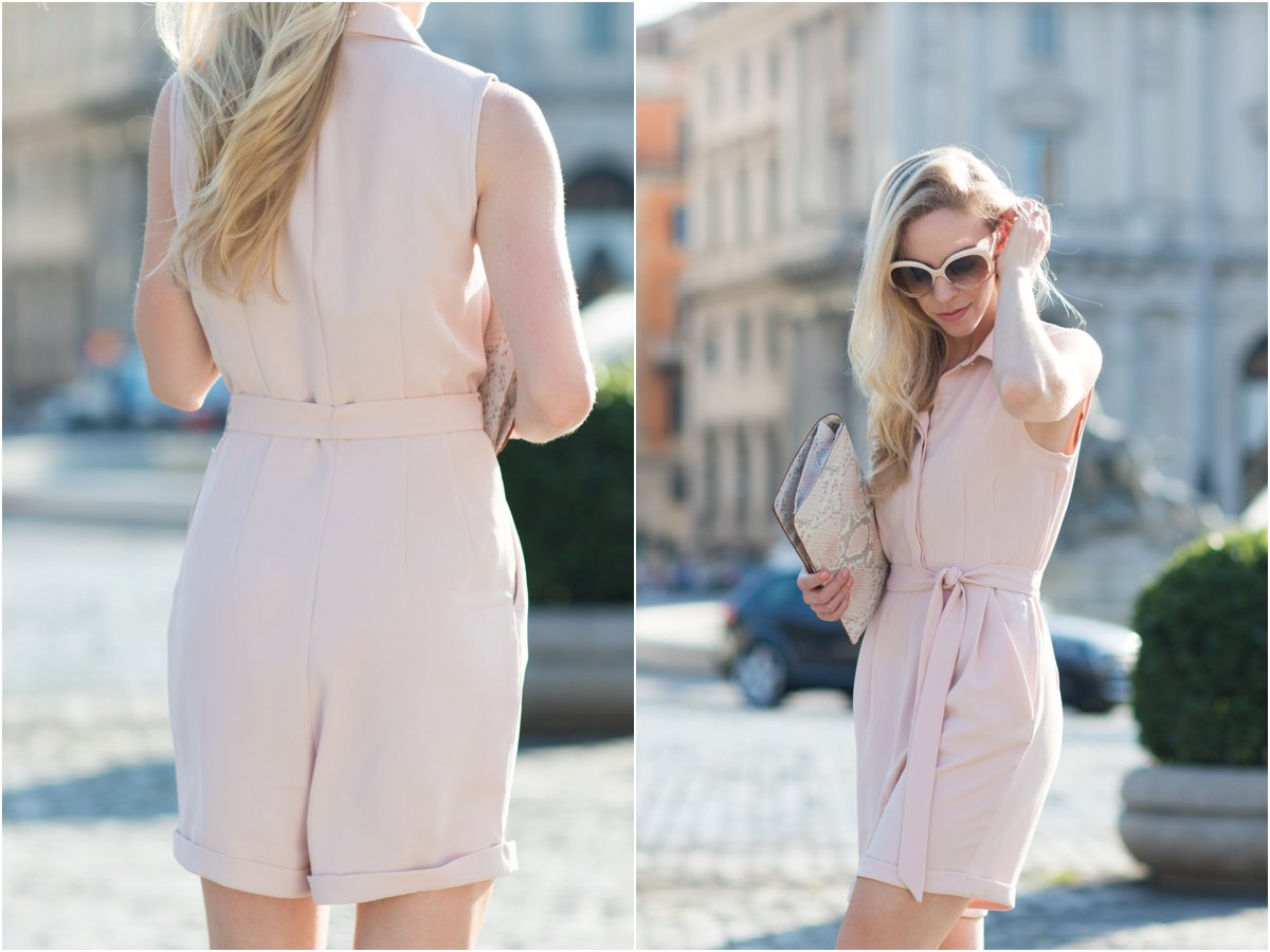 H&M tie waist pink romper, blush pink romper outfit, fashion blogger Rome Italy, blush pink summer outfit