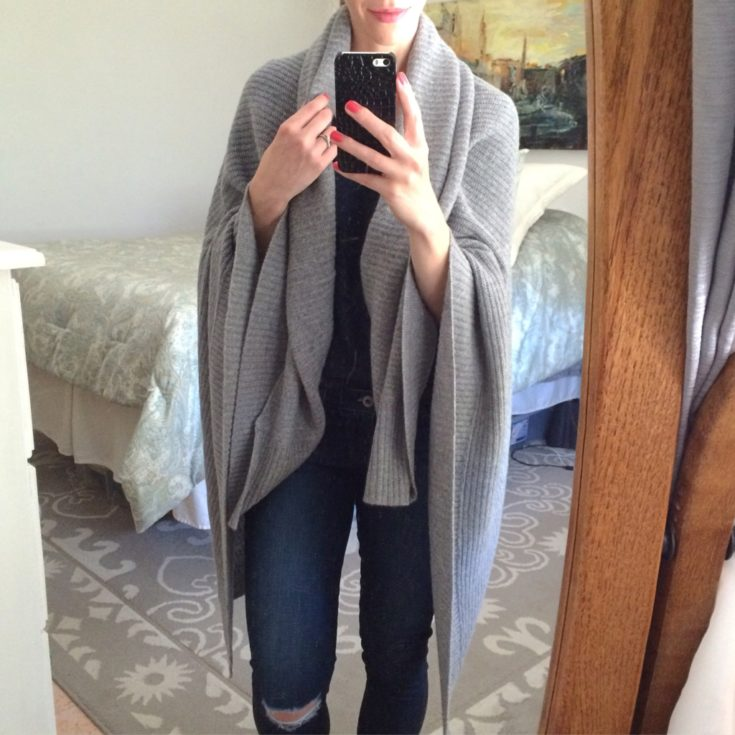 Halogen gray ribbed cashmere wrap, Nordstrom Anniversary Sale