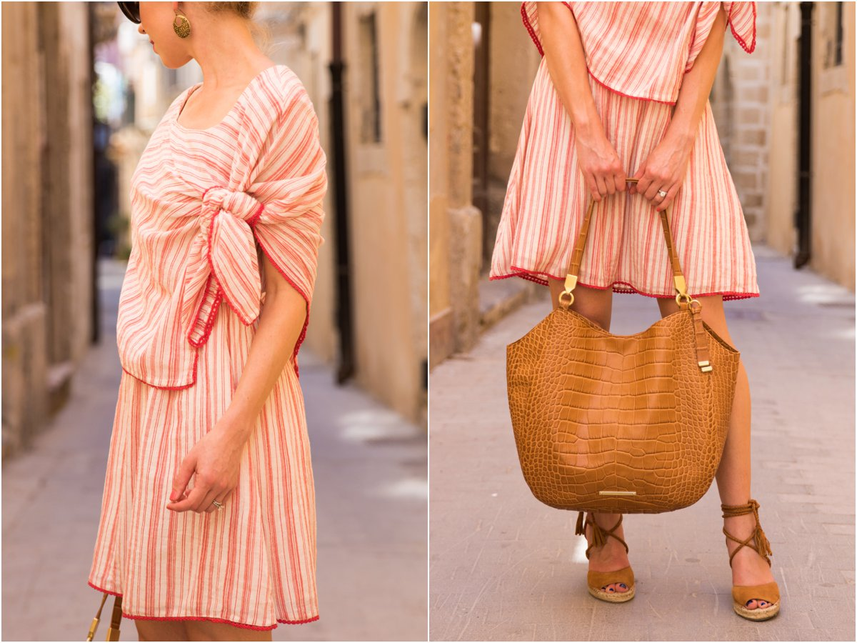 Intropia red striped linen dress, tie front striped dress for summer, Brahmin 'Thelma' tote tan savannah, Brahmin Southcoast collection