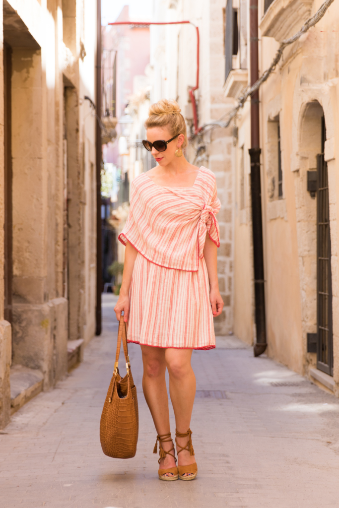 Intropia striped linen dress, Joie Phyllis espadrille wedge sandals, Brahmin 'Thelma' tote tan savannah, what to wear in Italy for summer vacation, fashion blogger