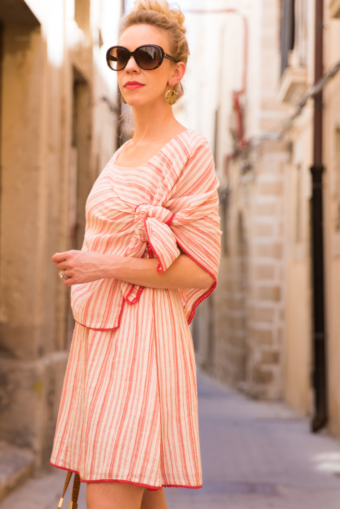 Intropia striped tie front linen dress, Clinique Fireball pop red lipstick, red striped dress summer outfit