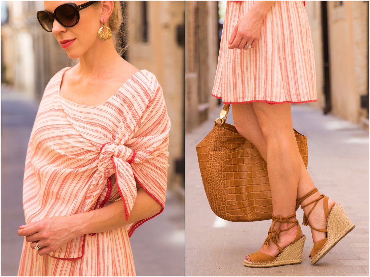 Intropia tie front striped linen dress, Joie 'Phyllis' espadrille wedge sandals, tie front striped dress