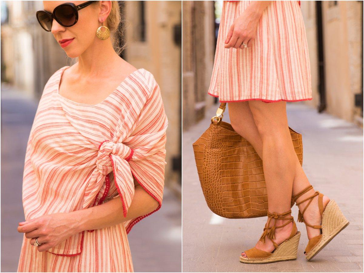 Intropia tie front striped linen dress, Joie 'Phyllis' espadrille wedge sandals, tie front striped dress