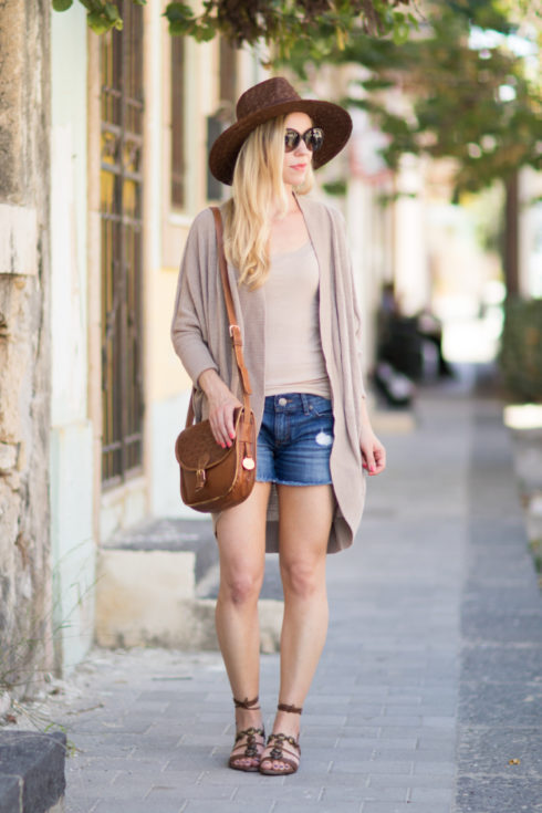 LOFT cocoon sweater with distressed denim shorts, Stuart Weitzman Stoned lace-up sandals, how to layer in the summer