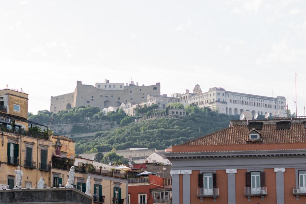 Piazza del Plebiscito Naples Italy, view of Castel Nuovo