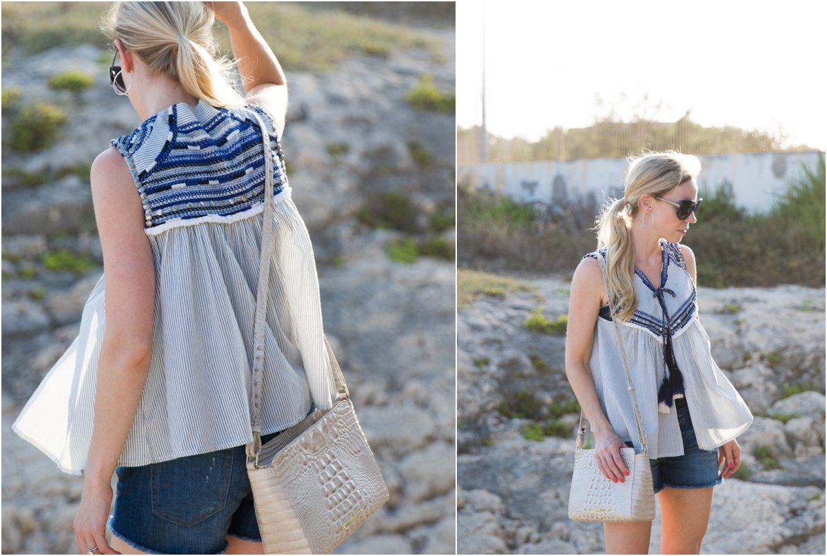 Zara embroidered top, Brahmin 'Carrie' crossbody bag linen Melbourne, how to wear a peasant top with denim shorts