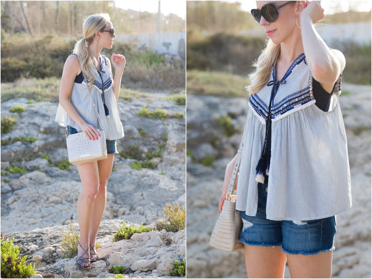 Zara embroidered top, LOFT denim cutoff shorts, Brahmin 'Carrie' crossbody bag Linen Melbourne